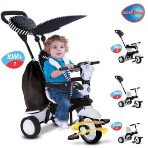 Smart-Trike-Spark-4-in-1-touch-steering-Black-White bali baby hire